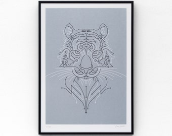 Tiger A3 limited edition screen print, hand-printed in metallic blue and black