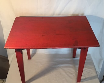 Vintage Wooden Folding - Beautiful and Unique Wooden Table with Folding Legs - Painted Red