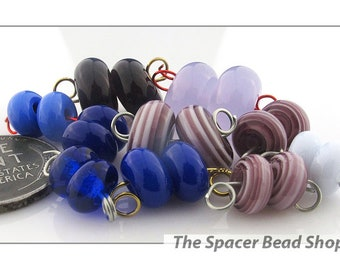CONCORD PURPLE Bead PAIRS Lampwork Spacers Glass Handmade - The Spacer Bead Shop