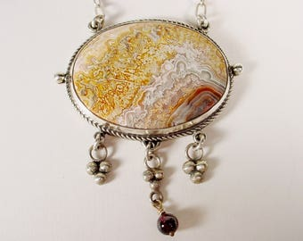 Crazy Lace Agate Pendant with Sterling Drops and Garnet Bead