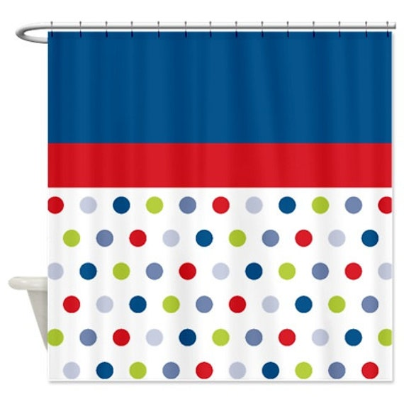 Polka Dot Shower Curtain Custom Seafoam Lavender Purple White OR Customize With ANY Colors Standard Or Extra Long Size Bathroom Decor