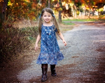 Girl Peasant Dress, Toddler Peasant Dress, Denim Dress, Peasant Dress, Little Girls Dress, Girls Denim Dress Denim Peasant Dress