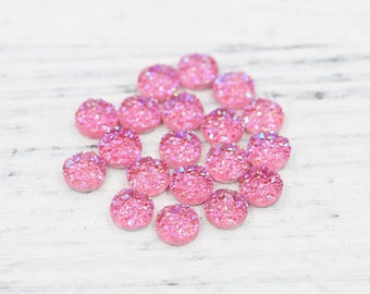 8mm Iridescent Pink Faux Druzy Crystal Clusters Cabochons Chunky BIG Nuggets Metallic