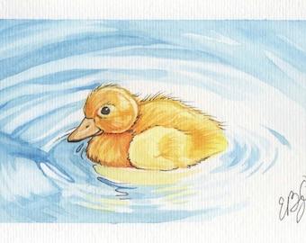 Lonely Duckling | 4x6 Original Watercolor