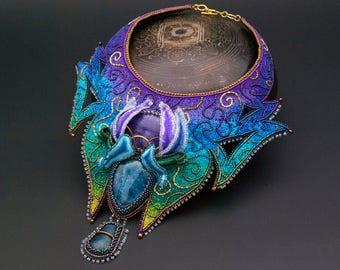 Avatar Pandora collar bib necklace bead embroidery stumpwork art glow in the dark OOAK