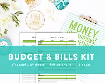EDITABLE Budget and Bill Pay Kit - Money Management - Budgeting Printables - Instant Download