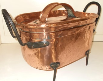 Large Ancient Copper Daubiere with legs Château Kitchen, Antique French Copper Confit Pan, Stock Pot, La braisière, Tin Lined //10.5 lbs