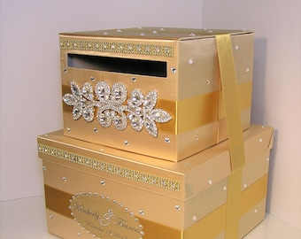 Wedding Card Box/Sweet 16 Gift Card Box 2 tier Gold Money Card Box Holder-customize your color