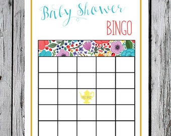 Tea Party BINGO - Baby Shower Bingo - matching bingo shower game baby shower tea party invitation instant download printable printer ready