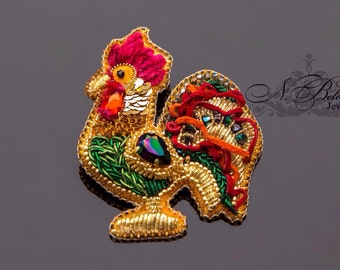 Symbol 2017 colourful Cockerel goldwork, bead embroidery brooch. Brooch symbol 2017. Goldwork rooster