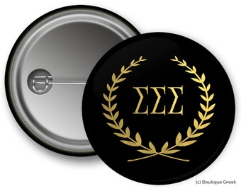 TriSigma Sigma Sigma Sigma Wreath Sorority Greek Button