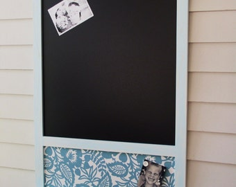 Rustic organizer Magnetic Chalkboard and Magnet Board Message Center Bulletin Board Handmade Frame 26.5 x 38.5 Shelf for Keys and Chalk Pen