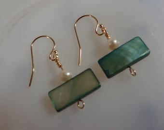 Green Mother of Pearl Earrings, Gold Filled (LVE68)