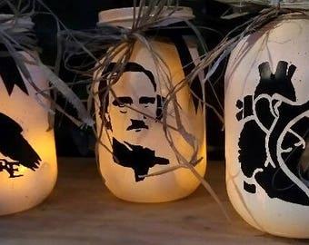 Edgar Allen Poe Inspired  Glass Jar Set of 3