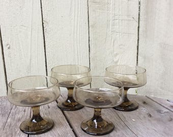 Vintage Libbey Smoke Champagne/Coupe Glasses