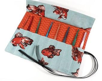 Crochet Hook / DPN Organizer - Goldfish - Crochet Hook Organizer Crochet Hook Case Crochet Organizer Organiser