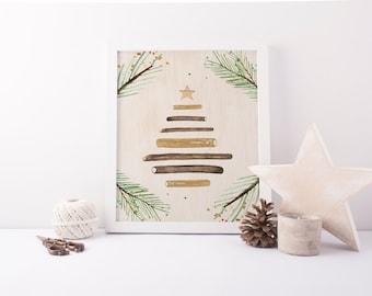 wooden christmas tree printable · rustic christmas print · christmas tree print · woodland christmas · rustic holiday decor · christmas sign