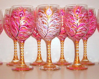 Bridesmaids - Hot Pink and Gold Peacock Feathers 8 - 20 oz. Hand Painted Wine Glasses Bridal Showers Weddings Personalization Bachelorette