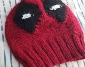 Hand Knit Deadpool Mask Hat