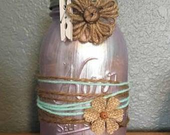 Painted Quart Mason Jar Decor - Rustic and Vintage Mason Jar