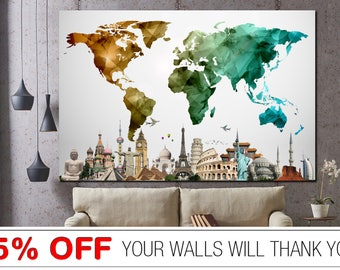 Colorful world map etsy world map gumiabroncs Image collections