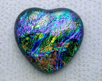 26x27mm Multi Layered Fused Dichroic Glass Cabochons - Kaleidoscopic of Special Colors - A126