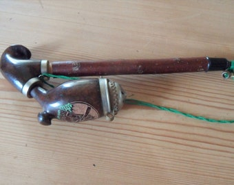 Black Forest carved pipe,German , pipe smoker , wall art , hand made , vintage item , lidded bowl ,