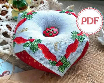 Biscornu Merry Christmas Cross Stitch PDF Pattern / Cross Stitch Pattern / Instant Download PDF Pattern