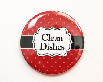 The dishes Are Clean, Clean Dishes, clean dishes magnet, Dishwasher magnet, kitchen magnet, Orange, Red, Polka Dot, Magnet (3686)