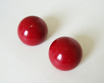 Vintage Deep Red Button Clip On Earrings