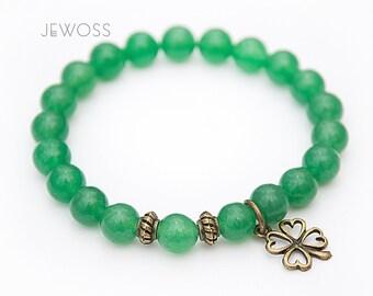 Jade bracelet Good luck charm Four leaf clover bracelet Green bracelet with jade beads Gemstone beaded bracelet Stack stretch bracelet