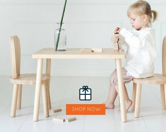Children's table and 2 chairs / natural wood / chaise pour enfants / Stuhl für KinderBunny chair /Wooden Kids chair, natural