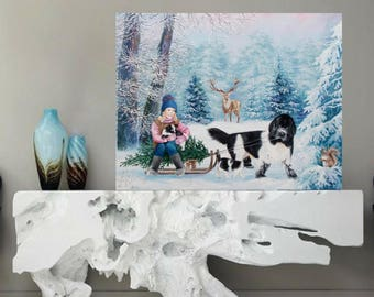 Oil painting, Snowy winter, Winter landscape, Child painting, Original painting, Snow covered trees, Forest animals, Dog sled, Fairy forest