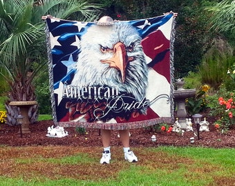 3D Patriotic Blanket, Americana Blanket, USA Throw Blanket, Americana Decor, July 4th Blanket, Americana Throw, Eagle Blanket, Flag Blanket
