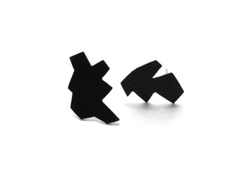 textured matte black, post earrings, powder coat jewelry, industrial finish, black earrings, steel posts, futuristic style, one of a kind