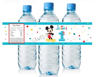 Mickey Mouse 1st Birthday Water Bottle Labels, New Mickey Personalized Water Bottle Wrappers, DIY Printables, Mickey Party Supplies