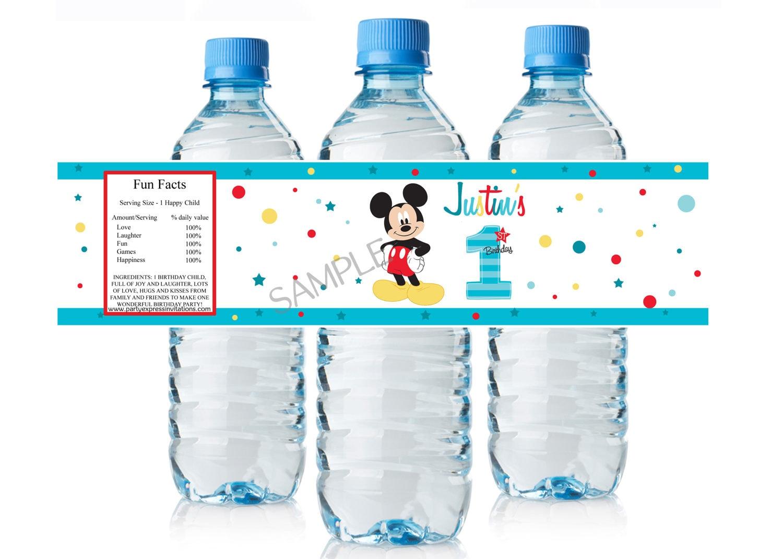Etiquetas de botella de agua de mickey mouse 1 cumplea os - Casa del agua cumpleanos ...