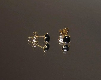 Black Onyx Earrings - Tiny Black Studs - Onyx Earrings -