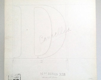 Letter D, original font casting drawing, typographic drawing (the thumbnail cannot show the beauty of the drawing please view large).