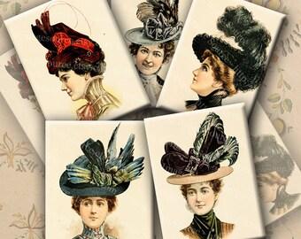 Victorian Ladies Hats, Digital Collage Sheet, Color Illustrations, Instant Printable Download