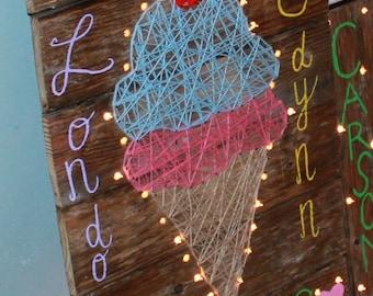 Ice Cream Cone String Art l nursery decor, kids' room decor, ice cream sign, ice cream pallet sign, string art, ice cream string art