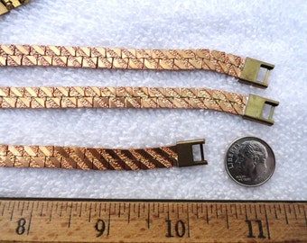 4 Vintage Brass Bracelets, Diagonal Smooth & Textured Design, 8.5 Inches, 7.5mm Width