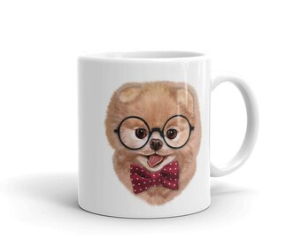 Blonde Pomeranian Puppy in Nerd Eyeglass, Dog - Mug