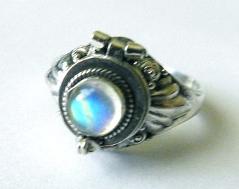 Very light color moonstone small Poison Ring Bali Sterling Silver Locket Ring  AR11