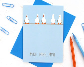 Funny Birthday Card, Anniversary Card, Valentine's Day Card, Birthday Card, Seagulls Card, Finding Nemo Card, Mine Mine Mine, Seagulls