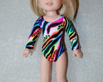 Gymnastics Leotard Doll Clothes Colorful Zebra print  handmade for 14.5 inch Wellie Wishers tkct1142 READY TO SHIP