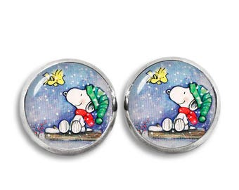 Snoopy and Woodstock Stud Earrings Snoopy Jewelry Geeky Fangirl Fanboy Gift for Best Friend