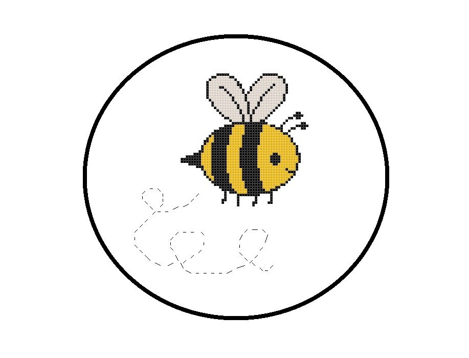 Baby Bumble Bee Cross Stitch Pattern PDF Chart Instant
