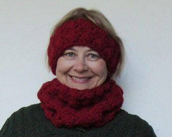 Cowl Scarf, Infinity Scarf/Headband Set, Crochet Scarf, Red Scarves, Women's Scarves, Alpaca Scarf, Sister Gift, Sister-In-Law Gift