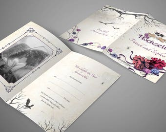 Templates for gothic wedding: Wedding newspaper, invitation, thank You Card & Co